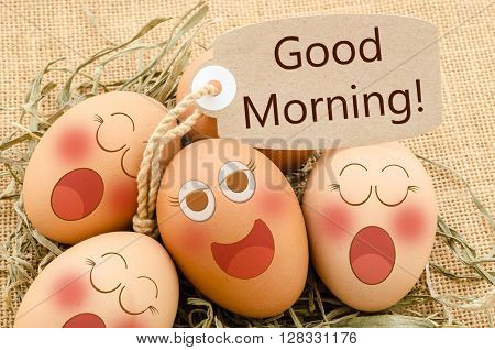 Good morning card and smile face eggs sleep sack background.