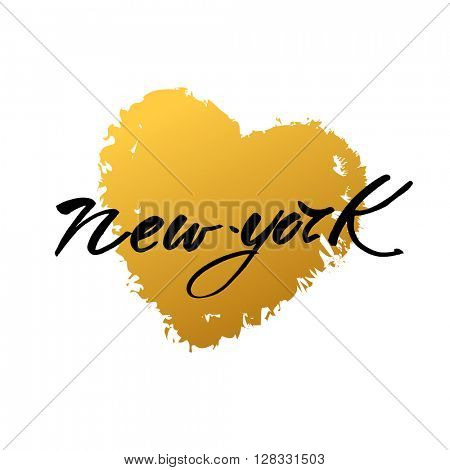 New York city  lettering design template. New York inscription with heart. Print for t-short. Handwritten quote. Vector illustration.