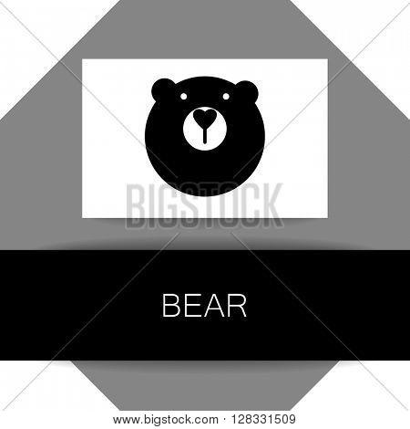Bear animal sign. Bear mascot idea for logo, emblem, symbol, icon. Vector illustration. Logo presentation template.
