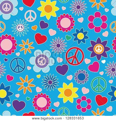 Hippie pattern, bright colors, seamless vector illustration