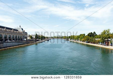 Color DSLR stock image of the Seine River, Paris, France.  Horizontal with copy space for text