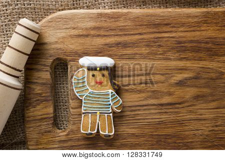 Cookies in the shape of man profession sailor