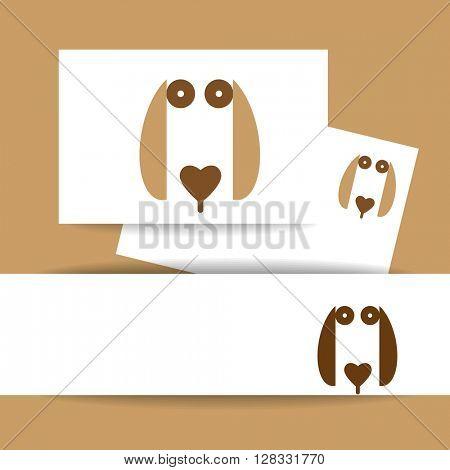 Dog logo sign. Identity presentation template.  Dog illustration idea for logo, emblem, symbol, icon. Vector illustration.