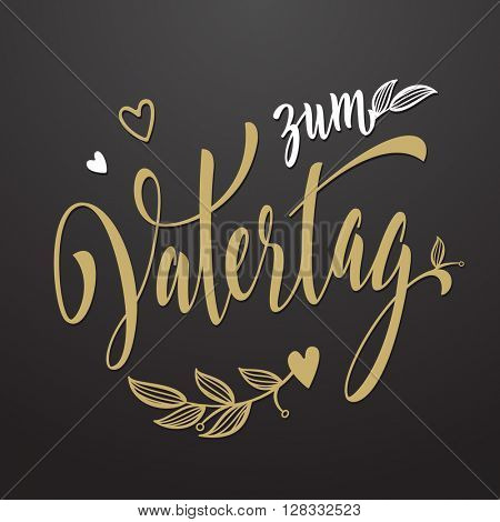 Zum Vatertag card. German Father's Day card. Lettering design.