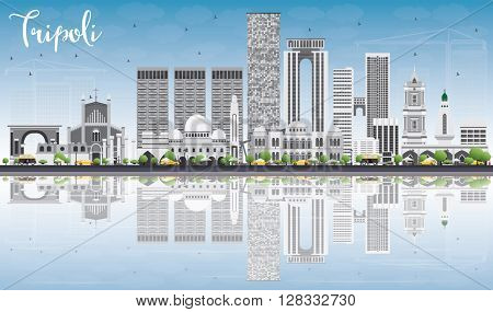 Tripoli Skyline with Gray Buildings, Blue Sky and Reflections. Vector Illustration. Business Travel and Tourism Concept with Historic Buildings. Image for Presentation Banner Placard and Web.