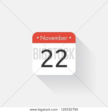 Calendar Icon with long shadow. Flat style. Date, day and month. Reminder. Vector illustration. Organizer application, app symbol. Ui. User interface sign. November. 22