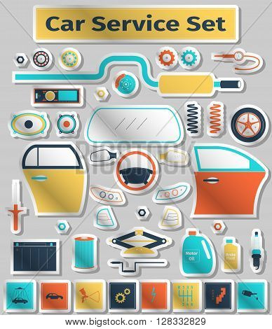 Car service set, flat icons style, vector illustration