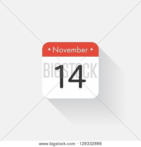 Calendar Icon with long shadow. Flat style. Date, day and month. Reminder. Vector illustration. Organizer application, app symbol. Ui. User interface sign. November. 14