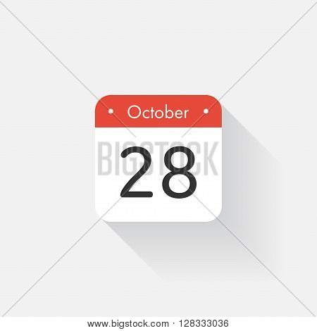 Calendar Icon with long shadow. Flat style. Date, day and month. Reminder. Vector illustration. Organizer application, app symbol. Ui. User interface sign.  October. 28