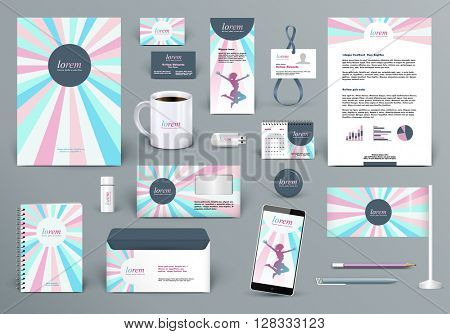 Professional branding design kit for beauty salon, woman fashion wear house or cosmetics shop, kid shop, medical center. Premium corporate identity template. Business stationery mock-up with logo.