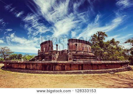 Vintage retro effect filtered hipster style image of ancient Vatadage (Buddhist stupa) in Pollonnaruwa, Sri Lanka