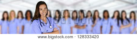 Large group of nurses together in the hospital