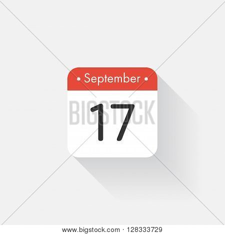 Calendar Icon with long shadow. Flat style. Date, day and month. Reminder. Vector illustration. Organizer application, app symbol. Ui. User interface sign. September. 17