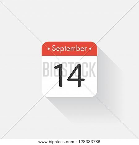 Calendar Icon with long shadow. Flat style. Date, day and month. Reminder. Vector illustration. Organizer application, app symbol. Ui. User interface sign. September. 14
