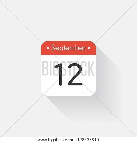Calendar Icon with long shadow. Flat style. Date, day and month. Reminder. Vector illustration. Organizer application, app symbol. Ui. User interface sign. September. 12