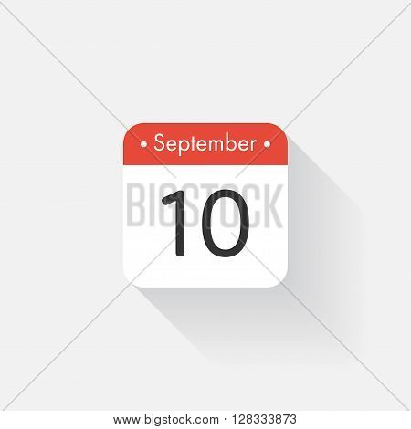 Calendar Icon with long shadow. Flat style. Date, day and month. Reminder. Vector illustration. Organizer application, app symbol. Ui. User interface sign. September. 10