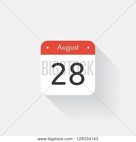 Calendar Icon with long shadow. Flat style. Date, day and month. Reminder. Vector illustration. Organizer application, app symbol. Ui. User interface sign. August. 28