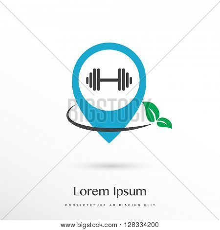 BLUE - GREEN , PREMIUM LOGO / ICON DESIGN OF A FREE WEIGHT IN A LOCATION SYMBOL COMBINES WITH A LEAF TO INDICATE HEALTHY AND / OR NATURAL