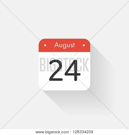 Calendar Icon with long shadow. Flat style. Date, day and month. Reminder. Vector illustration. Organizer application, app symbol. Ui. User interface sign. August. 24