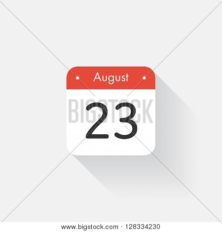 Calendar Icon with long shadow. Flat style. Date, day and month. Reminder. Vector illustration. Organizer application, app symbol. Ui. User interface sign. August. 23