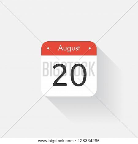 Calendar Icon with long shadow. Flat style. Date, day and month. Reminder. Vector illustration. Organizer application, app symbol. Ui. User interface sign. August. 20