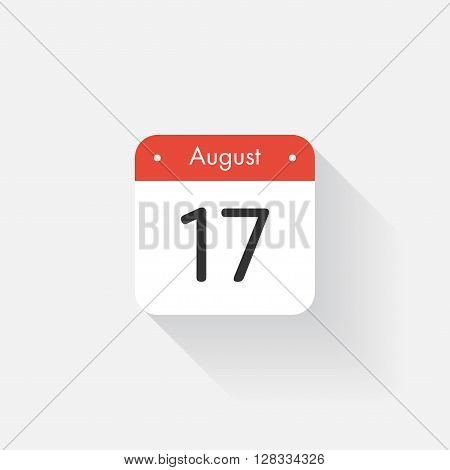 Calendar Icon with long shadow. Flat style. Date, day and month. Reminder. Vector illustration. Organizer application, app symbol. Ui. User interface sign. August. 17