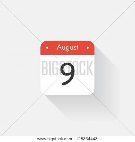 Calendar Icon with long shadow. Flat style. Date, day and month. Reminder. Vector illustration. Organizer application, app symbol. Ui. User interface sign. August. 9