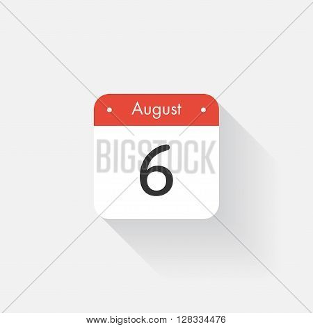 Calendar Icon with long shadow. Flat style. Date, day and month. Reminder. Vector illustration. Organizer application, app symbol. Ui. User interface sign. August. 6