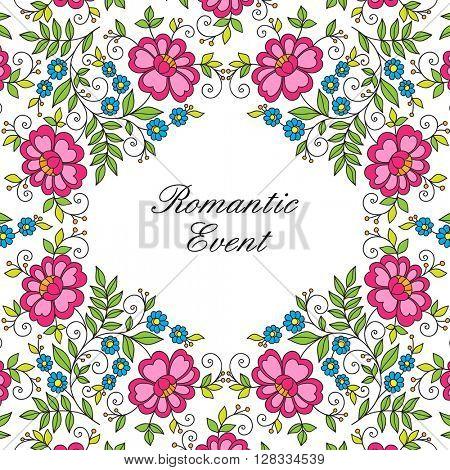 Colorful flower design frame. Invitation or wedding card.