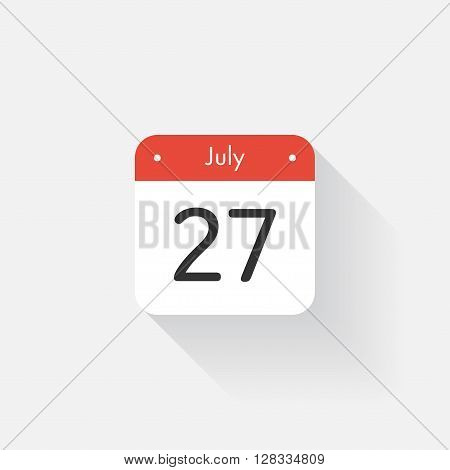 Calendar Icon with long shadow. Flat style. Date, day and month. Reminder. Vector illustration. Organizer application, app symbol. Ui. User interface sign. July. 27