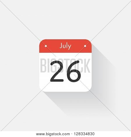 Calendar Icon with long shadow. Flat style. Date, day and month. Reminder. Vector illustration. Organizer application, app symbol. Ui. User interface sign. July. 26