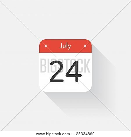 Calendar Icon with long shadow. Flat style. Date, day and month. Reminder. Vector illustration. Organizer application, app symbol. Ui. User interface sign. July. 24