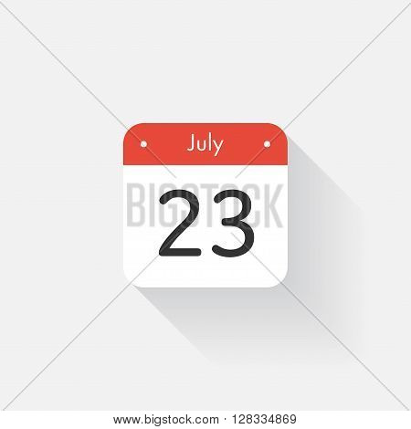 Calendar Icon with long shadow. Flat style. Date, day and month. Reminder. Vector illustration. Organizer application, app symbol. Ui. User interface sign. July. 23