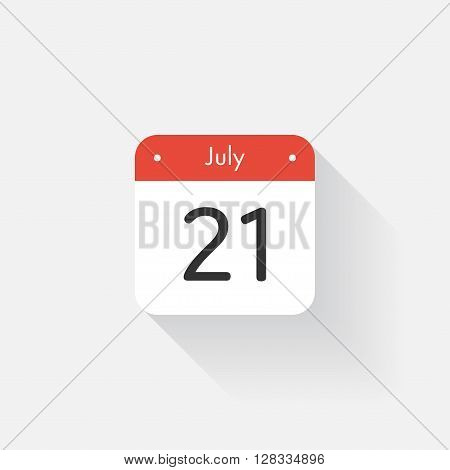 Calendar Icon with long shadow. Flat style. Date, day and month. Reminder. Vector illustration. Organizer application, app symbol. Ui. User interface sign. July. 21
