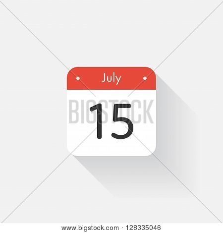 Calendar Icon with long shadow. Flat style. Date, day and month. Reminder. Vector illustration. Organizer application, app symbol. Ui. User interface sign. July. 15