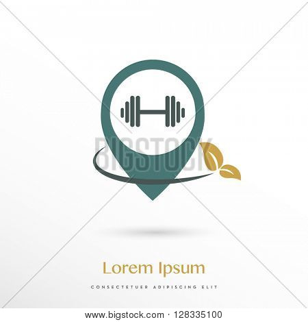 METALLIC COLORS, PREMIUM LOGO / ICON DESIGN OF A FREE WEIGHT IN A LOCATION SYMBOL COMBINES WITH A LEAF TO INDICATE HEALTHY AND / OR NATURAL