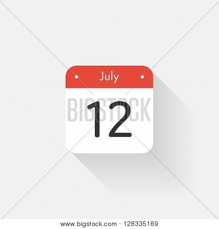 Calendar Icon with long shadow. Flat style. Date, day and month. Reminder. Vector illustration. Organizer application, app symbol. Ui. User interface sign. July. 12