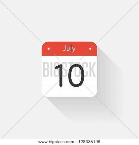 Calendar Icon with long shadow. Flat style. Date, day and month. Reminder. Vector illustration. Organizer application, app symbol. Ui. User interface sign. July. 10
