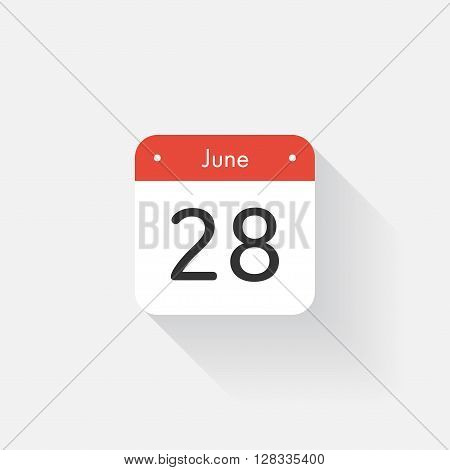 Calendar Icon with long shadow. Flat style. Date, day and month. Reminder. Vector illustration. Organizer application, app symbol. Ui. User interface sign. June. 28