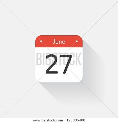 Calendar Icon with long shadow. Flat style. Date, day and month. Reminder. Vector illustration. Organizer application, app symbol. Ui. User interface sign. June. 27