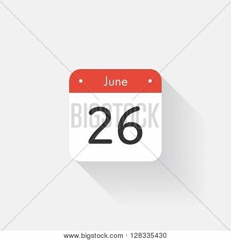 Calendar Icon with long shadow. Flat style. Date, day and month. Reminder. Vector illustration. Organizer application, app symbol. Ui. User interface sign. June. 26