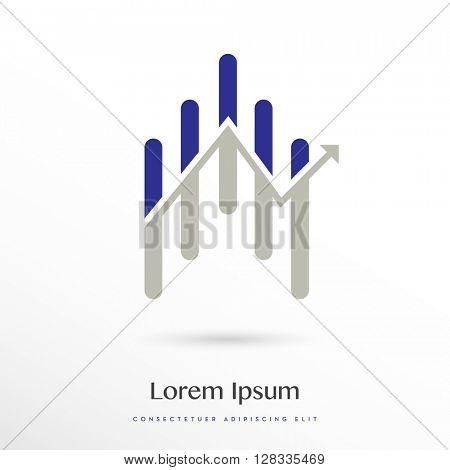 BLUE - GREY ANALYTICS / STATISTICS VECTOR LOGO / ICON