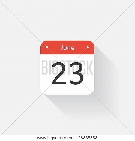 Calendar Icon with long shadow. Flat style. Date, day and month. Reminder. Vector illustration. Organizer application, app symbol. Ui. User interface sign. June. 23