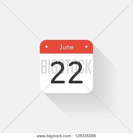 Calendar Icon with long shadow. Flat style. Date, day and month. Reminder. Vector illustration. Organizer application, app symbol. Ui. User interface sign. June. 22