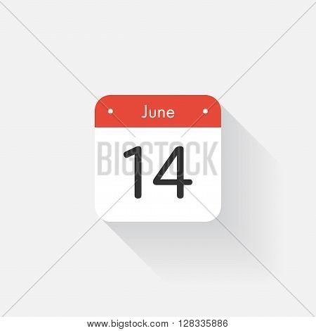 Calendar Icon with long shadow. Flat style. Date, day and month. Reminder. Vector illustration. Organizer application, app symbol. Ui. User interface sign. June. 14