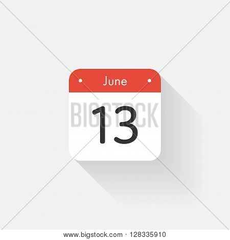Calendar Icon with long shadow. Flat style. Date, day and month. Reminder. Vector illustration. Organizer application, app symbol. Ui. User interface sign. June. 13