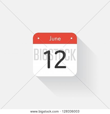 Calendar Icon with long shadow. Flat style. Date, day and month. Reminder. Vector illustration. Organizer application, app symbol. Ui. User interface sign. June. 12
