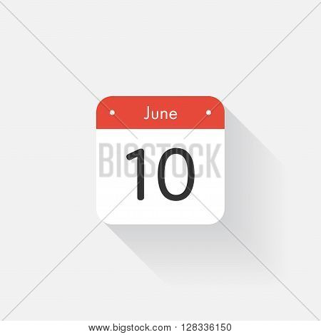 Calendar Icon with long shadow. Flat style. Date, day and month. Reminder. Vector illustration. Organizer application, app symbol. Ui. User interface sign. June. 10