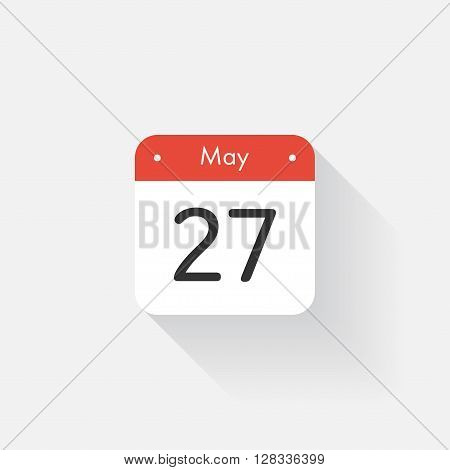 Calendar Icon with long shadow. Flat style. Date, day and month. Reminder. Vector illustration. Organizer application, app symbol. Ui. User interface sign. May. 27