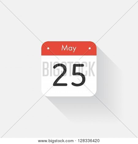 Calendar Icon with long shadow. Flat style. Date, day and month. Reminder. Vector illustration. Organizer application, app symbol. Ui. User interface sign. May. 25